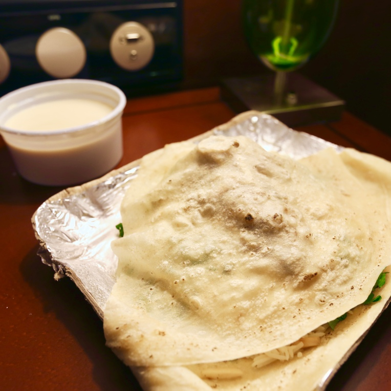 Thin flat bread was good. Fermented yogurt sauce, not so good.