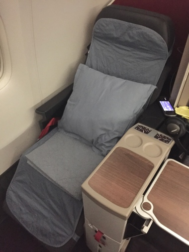 Upon request, the seat is prepared with bedding for a more comfortable rest.